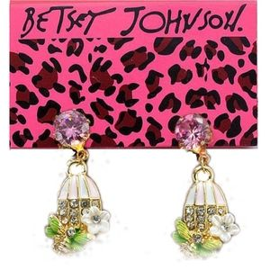 Betsey Johnson Floral Enamel Bird Cage Earrings